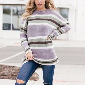 Boutique Striped Oversized Sweater